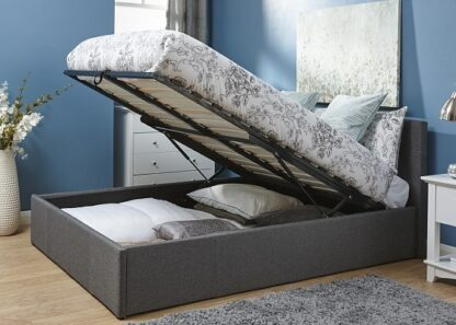 End Lift Ottoman Bed Frame Grey Double