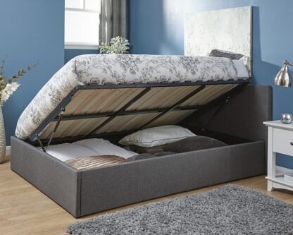 Side Lift Ottoman Bed Frame Grey Single