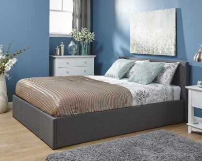Side Lift Ottoman Bed Frame Grey Small Double