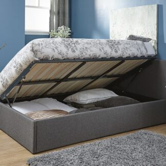 Side Lift Ottoman Bed Frame Grey Double