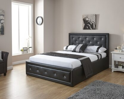 HOLLYWOOD Gas Lift Storage Bedstead Black Double