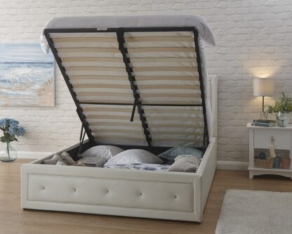 HOLLYWOOD Gas Lift Storage Bedstead White Double