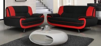 Faux Leather Sofa Two tone Black/Red