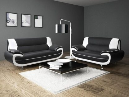 Faux Leather Sofa Two tone Black/White