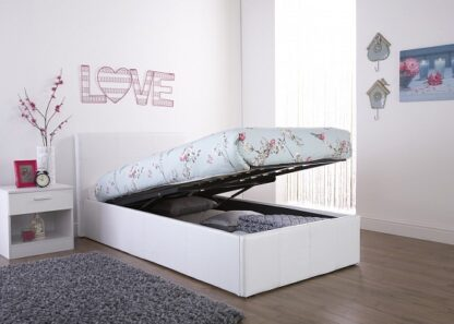 End Lift Ottoman Bed Frame White Double