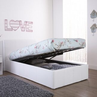 End Lift Ottoman Bed Frame White Single