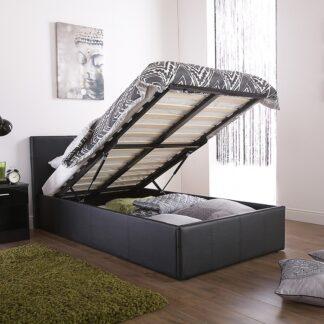 End Lift Ottoman Bed Frame Black Single