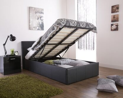 End Lift Ottoman Bed Frame Black Small Double