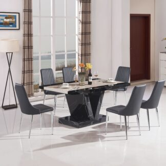 Boni Dining Table Black 6 Chairs