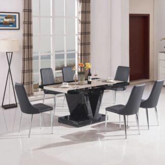 Boni Dining Table Black 6 Chairs