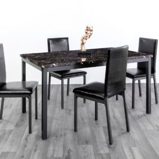 Ruby Black Dining Set 4 Chairs