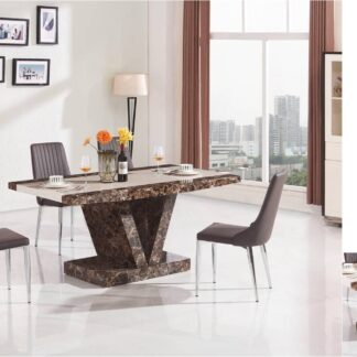 Boni Dining Table Brown 6 Chairs