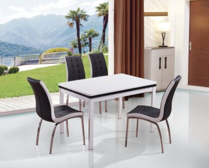 Husty Extendable Dining Table 4 Black Chairs