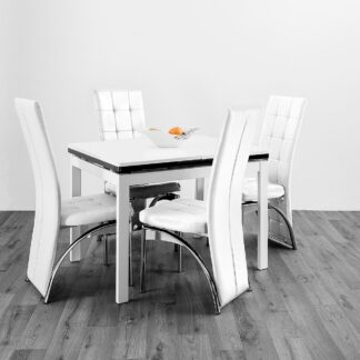 Husty Extendable Dining Table 4 White Chairs