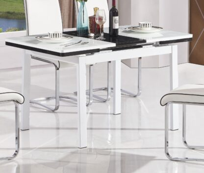 Husty 130 Extendable Dining Table 4 White Chairs