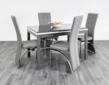 Husty Extendable Dining Table 4 Grey Chairs