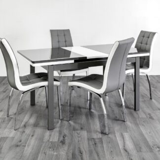 Husty Extendable Dining Table 4 Grey/White Chairs