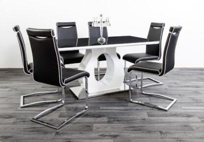 BLAKE DINING TABLE BLACK/WHITE 6 Chairs