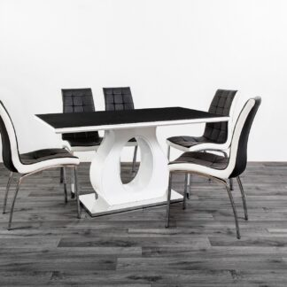 BLAKE DINING TABLE BLACK/WHITE 6 Chairs