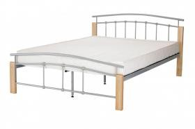 Tetras King Size Bed Silver Metal & Beech