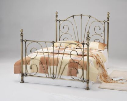 Beatrice Antique Brass Double Bed Frame