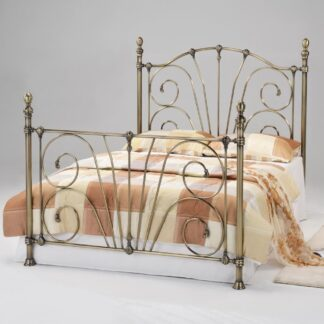 Beatrice Antique Brass King Size Bed Frame